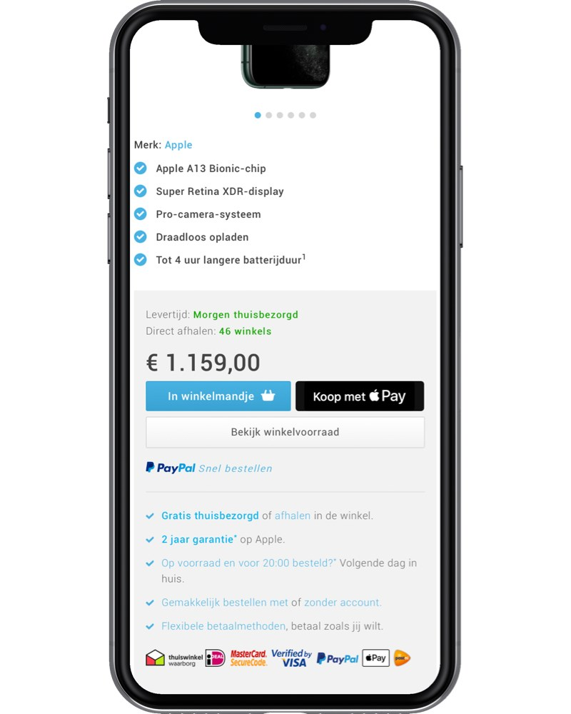 Example of Apple Pay fast checkout