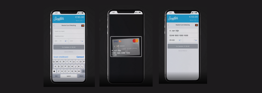 Want to pay with your iPhone via Buckaroo Smart Checkout? Just scan your creditcard with your iPhone's camera. The data will be read automatically.